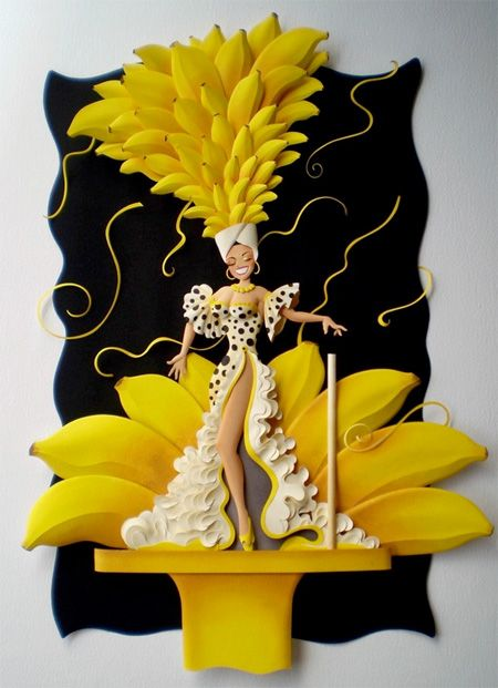 Carmen Miranda Amazing paper sculptures created by talented Brazilian artist Carlos Meira.