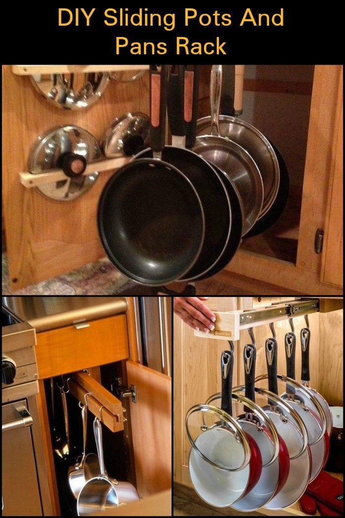 Diy Sliding Pots And Pans Rack Storage Pan Kitchen Decor Sets Liances
