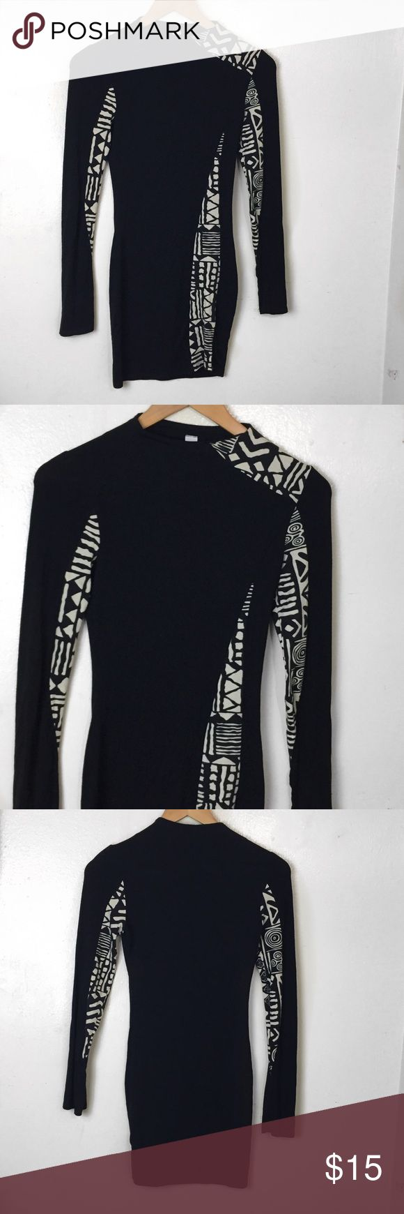 GoJane Black Aztec Print Long Sleeve Bodycon Dress GoJane Black Aztec Print Long Sleeve Bodycon Dress. Size Small. Great Stretch. Perfect for girls night out! Go Jane Dresses Long Sleeve