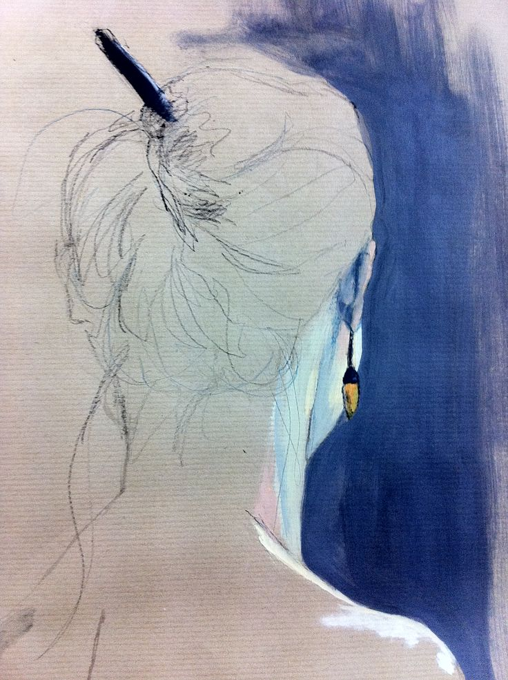 nu, crayon et huile sur papier, détail. Nude, mixed technique, oil and pencil on paper.