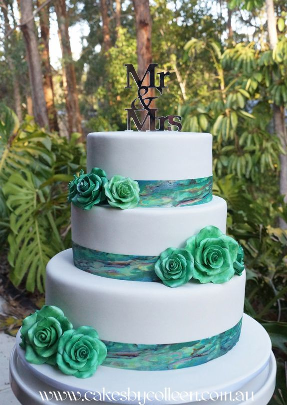 3 Tier New Zealand hand painted edible metallic Paua Shell wedding cake with roses.