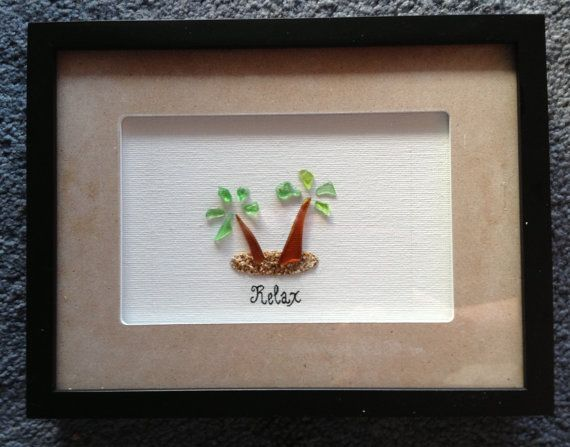 Palm Tree Hawaiian Sea Glass Shadow Box by Wendywen74 on Etsy, $60.00