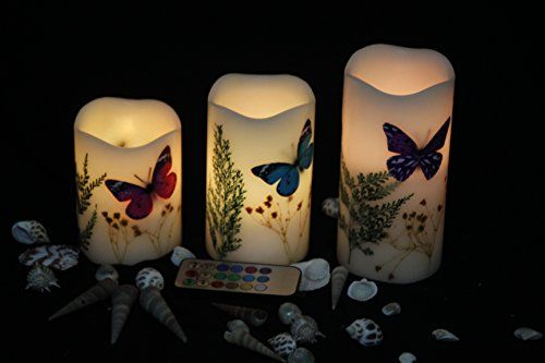 Decorative flameless Candles | TBW Set of 3 Dried Flower Flameless LED Candles with Remote, Pillar ...