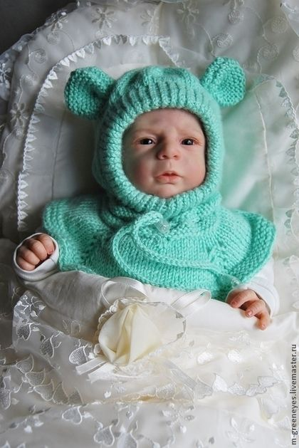 """Для новорожденных, ручной работы. Ярмарка Мастеров - ручная работа Шапка-шлем """"Салатовый мышонок"""". Handmade."""