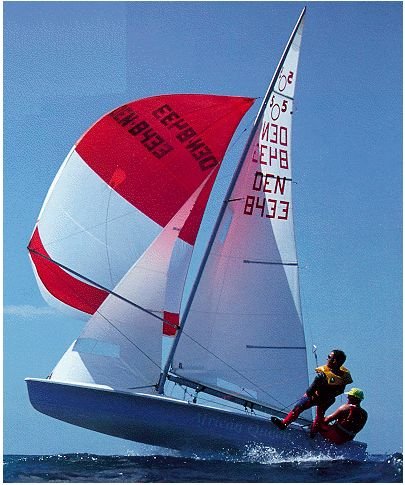 505 Dinghy -- blast off time, more than a bit beasty in the big breeze.