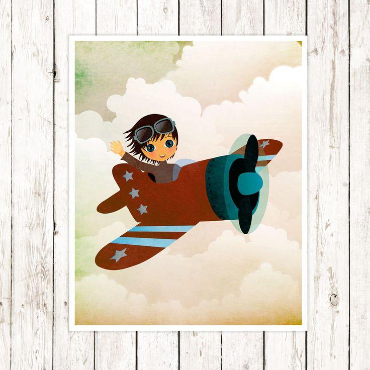 Airplane Wall Art decor Kids Room Print Boys Print Art Aviation Gifts Airplane Decor for Boys room  Airplane Decor Kids Playroom Wall Art by CherimoyaArt on Etsy
