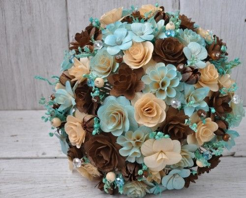 tiffany blue and chocolate brown wedding ideas | Blush Blue and Brown Wedding Bouquet or Centerpiece Decoration ...