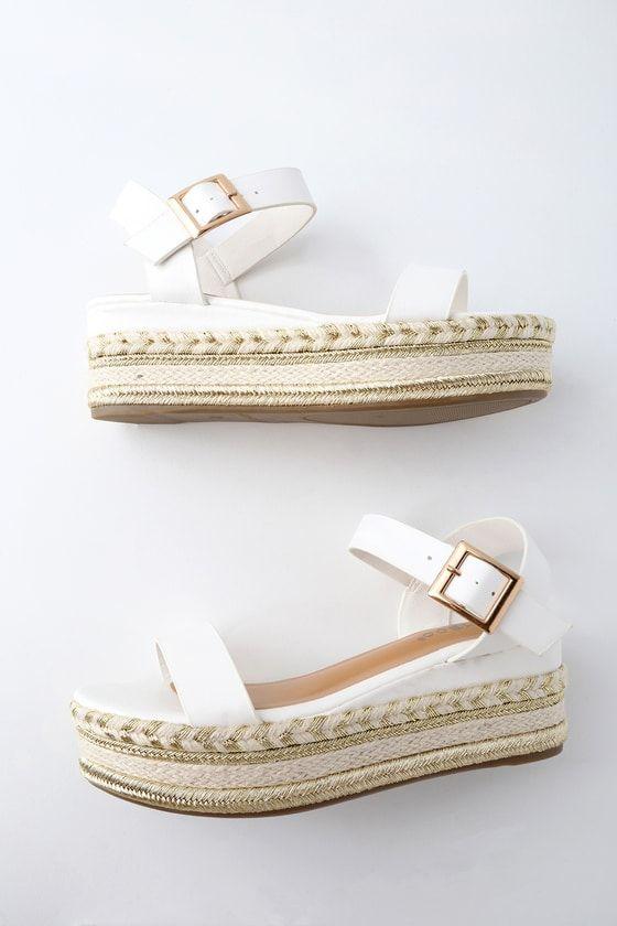 49c4491f64d Get your goddess on in the Cecilio White Espadrille Flatform Sandals!  Sleek