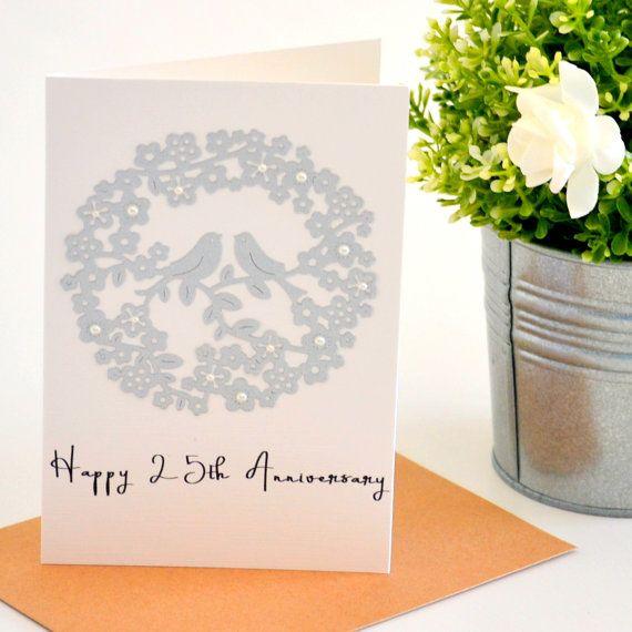 25th Anniversary Greeting Card Silver by ThePaperAngelOnline
