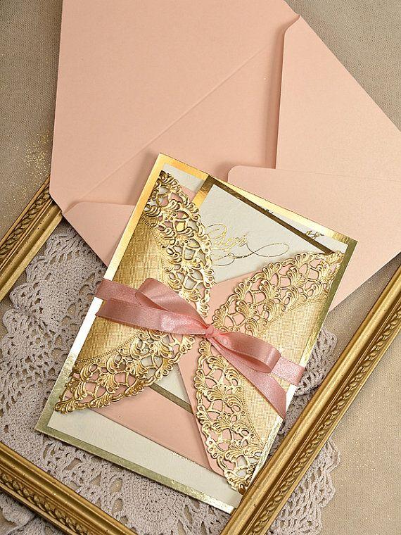 Art Deco Einladungen 20 Hochzeit Pfirsich Gold von forlovepolkadots