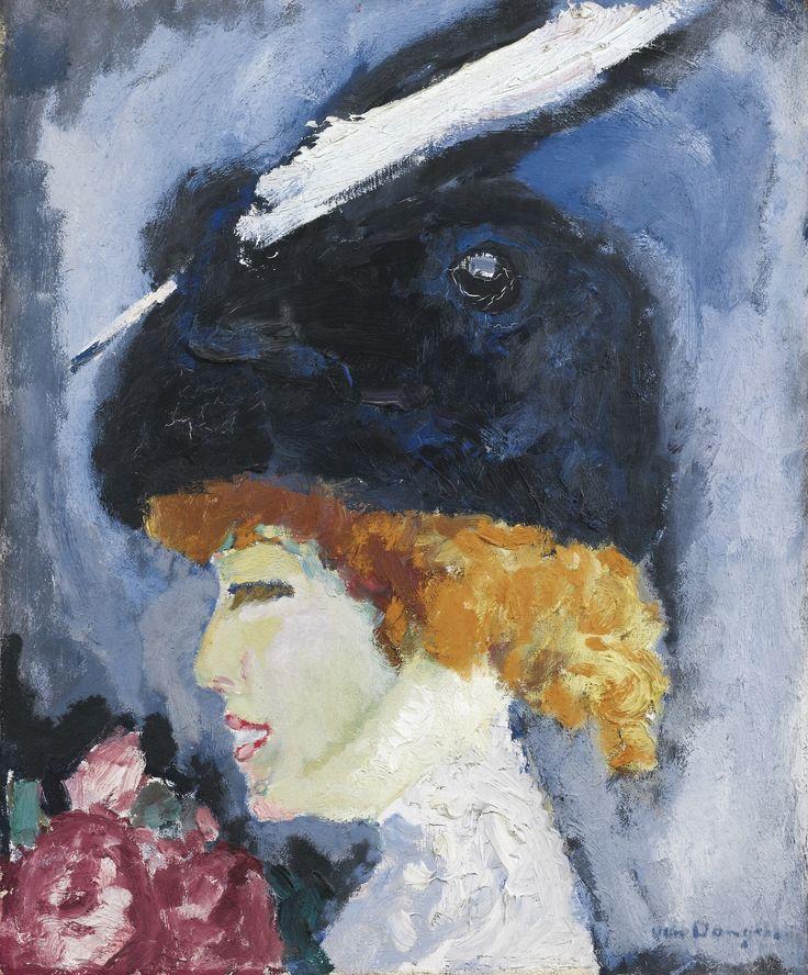 Kees van Dongen (Dutch, 1877-1968) - Woman's portrait with a white feather (Portrait de femme à la plume blanche), 1908-10