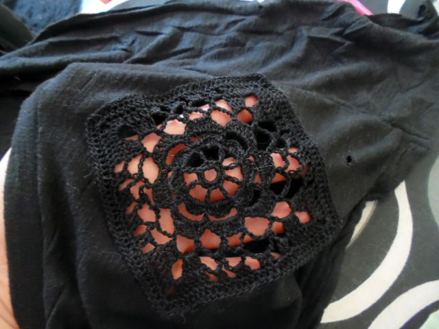 Upcycle clothes with crocheted squares.  Granny square Upcycling