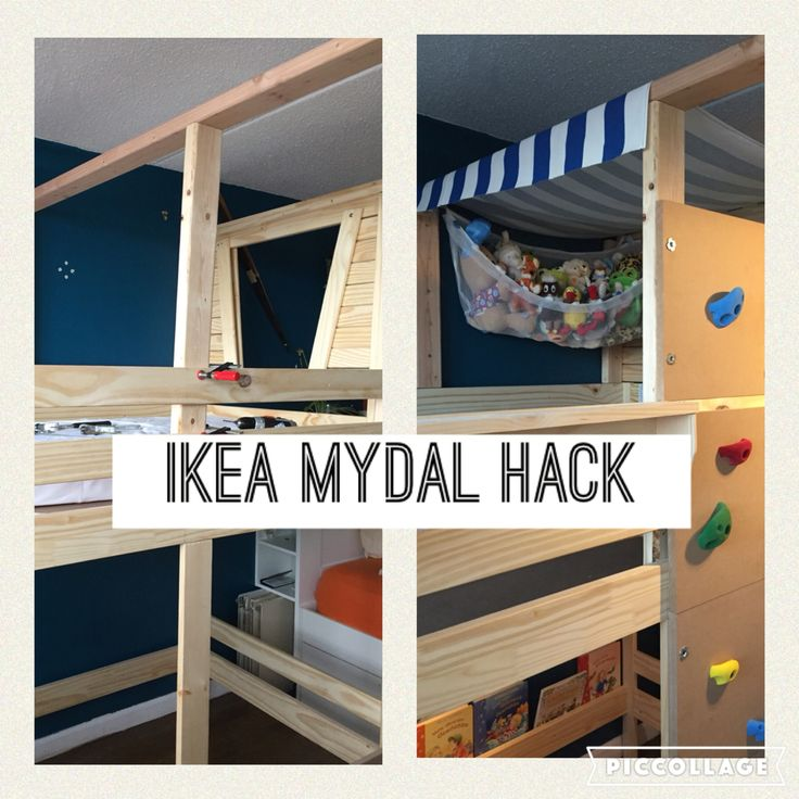 Ikea mydal bunk bed turned toddler pirate ship added for Ikea wooden bunk beds