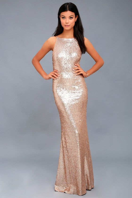 Chic Celebration Champagne Sequin Maxi Dress 2