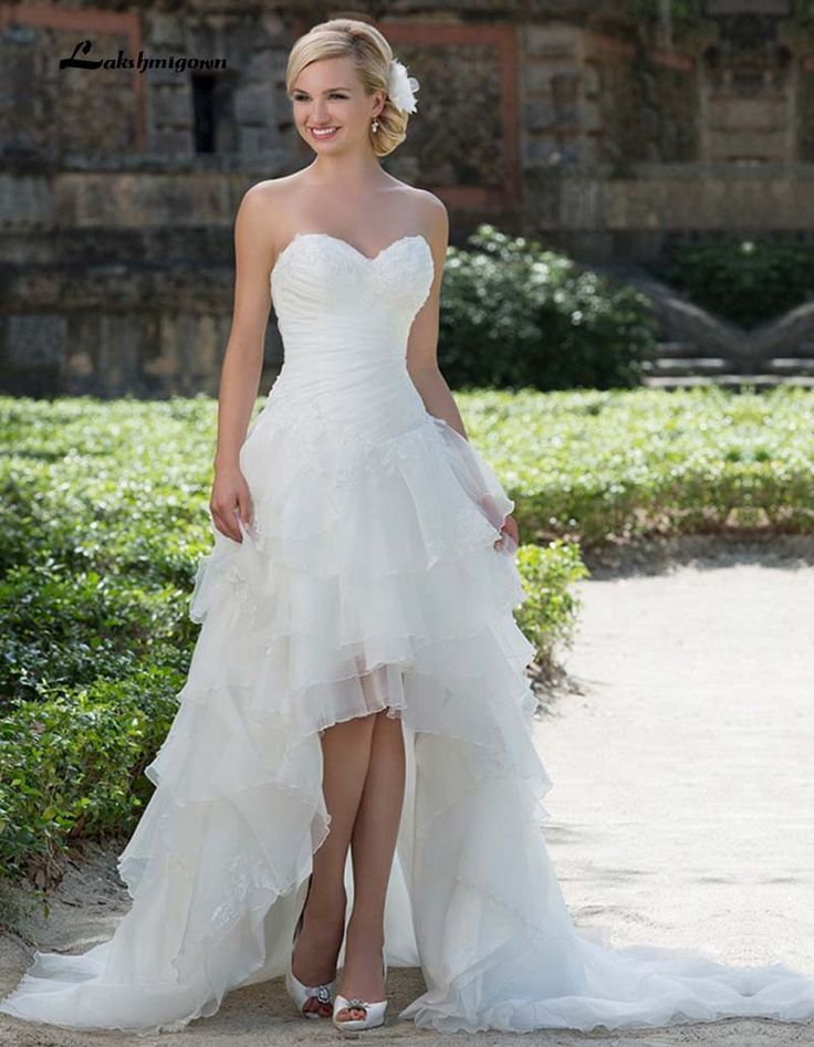 White Wedding Dress Short Front Long Back Lace Beaded