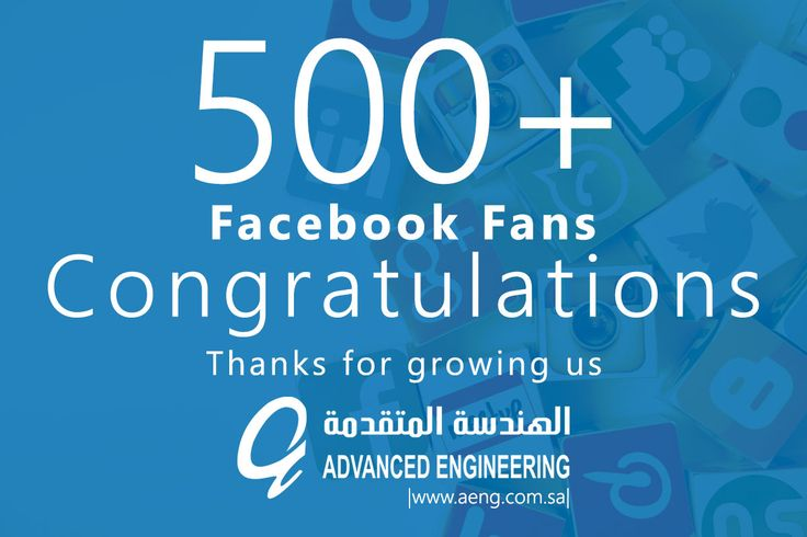 Congratulations on having 500+ fans on Facebook. Thanks for growing us.