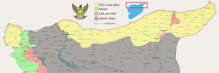 CC news @CizireCanton 25 July 2015 | Current situation in #Rojava / north #Syria             HQ: http://i.imgur.com/6hYk89G.png   #YPG/J #FSA #SAA IS
