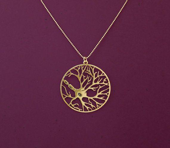 Nervenzelle in einem Kreis, Psychologie-Kette, Biologie-Schmuck, 24 Karatgold vergoldet Kette – Luisa Sche