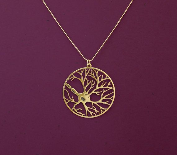 Neuron in a circle necklace- psychology necklace- biology jewelry- 24 Karat gold plated necklace on Etsy, $55.00