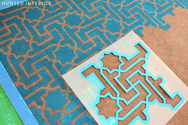 DIY Painted Outdoor Rug by Hunted Interior using Moroccan Key Stencils by Royal Design Studio