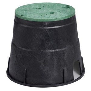Orbit 53211 Sprinkler System 10-Inch Circular Valve Box by Orbit. $13.97. Durable long lasting construction. 9 ½-Inch diameter at the top, 12 7/8-Inch  diameter at the bottom and the height is 10 ½-Inch. Redesigned and reinforced 10-Inch round valve box. With snap-lid. Ideal for sprinkler valves or drip manifolds. From the Manufacturer                The 10-Inch circular valve box is made with durable long lasting material. This valve box is ideal for sprinkler valves or drip m...