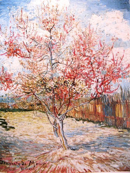 Bloeiende perzikbomen - Peachtree blossom 1888. De lente bij Vincent van Gogh