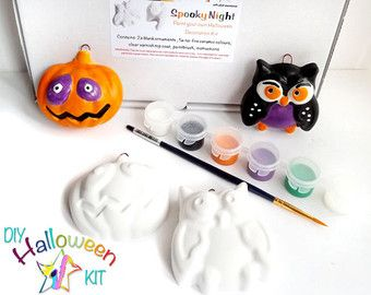 Kit di Halloween Craft, Paint Your proprio Halloween ornamento, Set di due decorazioni di Halloween per dipingere, mestiere DIY halloween, attività di pigiama party