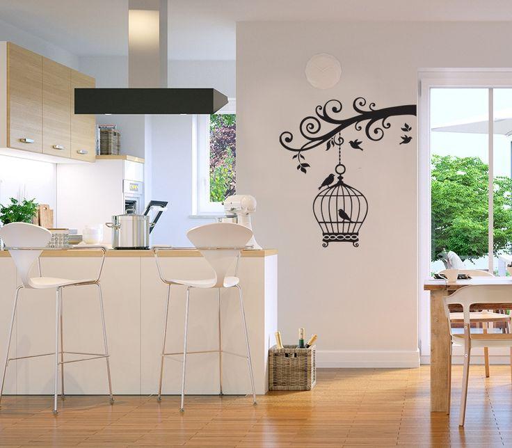 Vinilo de pared: una preciosa jaula para pájaros ❤ adhesivo decoración romántica salón dormitorio boho vintage. Para cualquier superficie lisa. ¡Diseños personalizados!