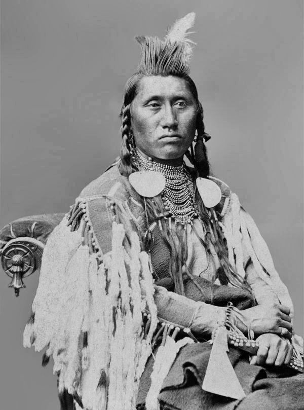 Chief Pretty Eagle (1846-1903) was a war chief, warrior, and diplomat of the Crow Nation. - Photo by Charles Milton Bell, 1880. (B/W copy)