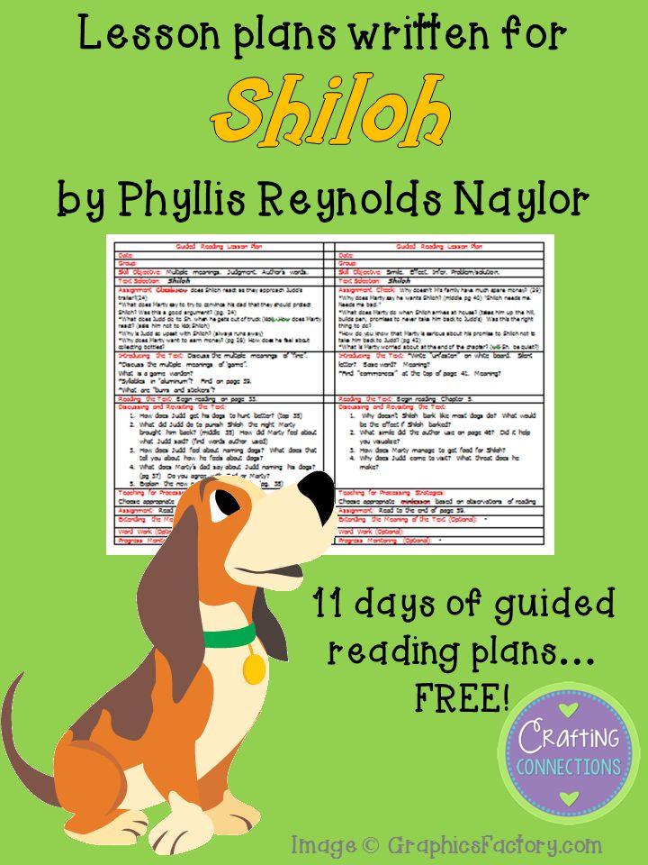 FREE upper elementary guided reading lesson plans written for the book Shiloh!