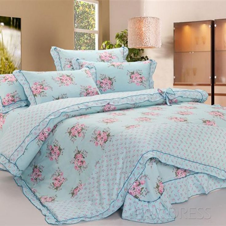 blue cotton 4piece queen size duvet covers with laciness