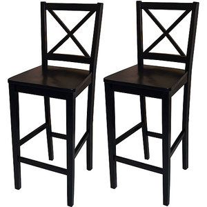 "Our island has been lacking stools for a year and a half now.... $84 for two score!!    Virginia Cross-Back Bar Stools 30"", Set of 2, Black"