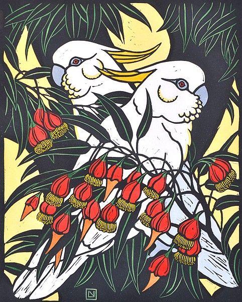 Leslie van der Sluys - Sulphur Crested Cockatoo and Fuschia Gum 1981