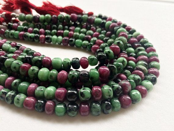 Ruby Zoisite Beads Ruby Zoisite Plain Rondelle by gemsforjewels