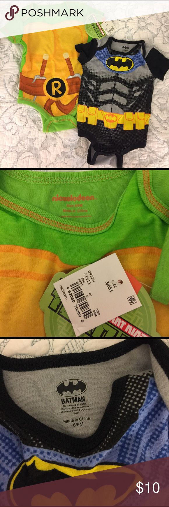 NWT Ninja turtles and batman onesies  6-9M Ninja turtles onesie is NWT... Batman onesie has been worn once. No flaws.  Set of two.  The tag on the Ninja turtles onesie says 3/6M but it says 6/9M on the onesie itself as shown in the picture... I'm pretty sure it is 6-9M. Nickelodeon One Pieces Bodysuits