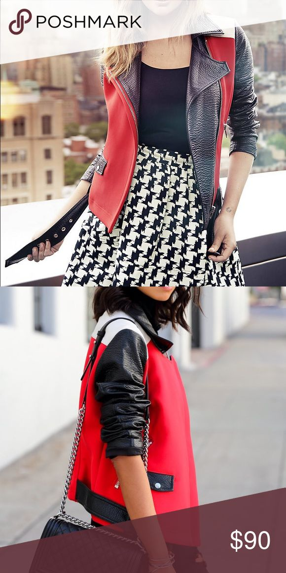 Express Black, Red, White Leather Jacket! Express black white and red Moto leather jacket! Comes with a buckle.. super sexy and cute! Express Jackets & Coats