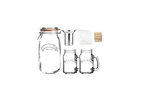 Kilner 9-Piece Glassware Cold Brew Coffee Set Extract Delicious Flavors By Steeping In Cold Water 68-Fluid Ounce Capacity