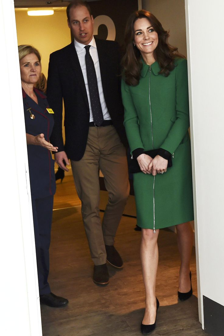 Kate Middleton looked chic in a bright green coat and black pumps, while  visiting St