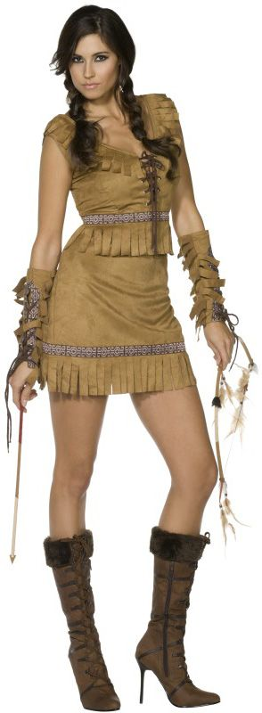 Sexy Indian costume for women: This sexy red Indian costume consists of an imitation leather dress with a corsage and fringes, matching armbands and brown laces. (Weapons, wig, boots not included)This Indian costume is ideal...