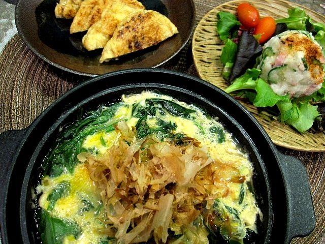 今宵のアテ。 - 2件のもぐもぐ - 油揚げの納豆仕込 & ほうれん草の卵とじ小鍋仕立て & ポテトサラダ by orangetable