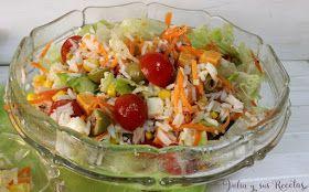Ensaladas, ensalada de arroz, ensalada de arroz largo, Julia y sus recetas, arroz largo, ensalada fresca, ligera, sabrosa, con tomates, zanahoria, aceitunas, lechuga