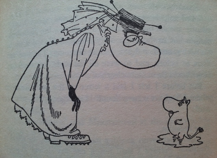 Hemulen and Moominpappa when he was just a little moomintroll
