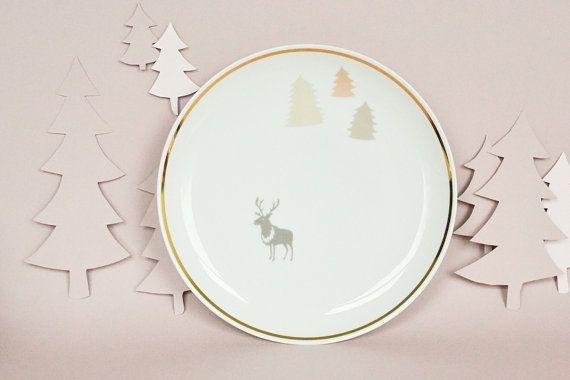 Plate with a deer and trees by StudioRobinPieterse on Etsy, $32.00
