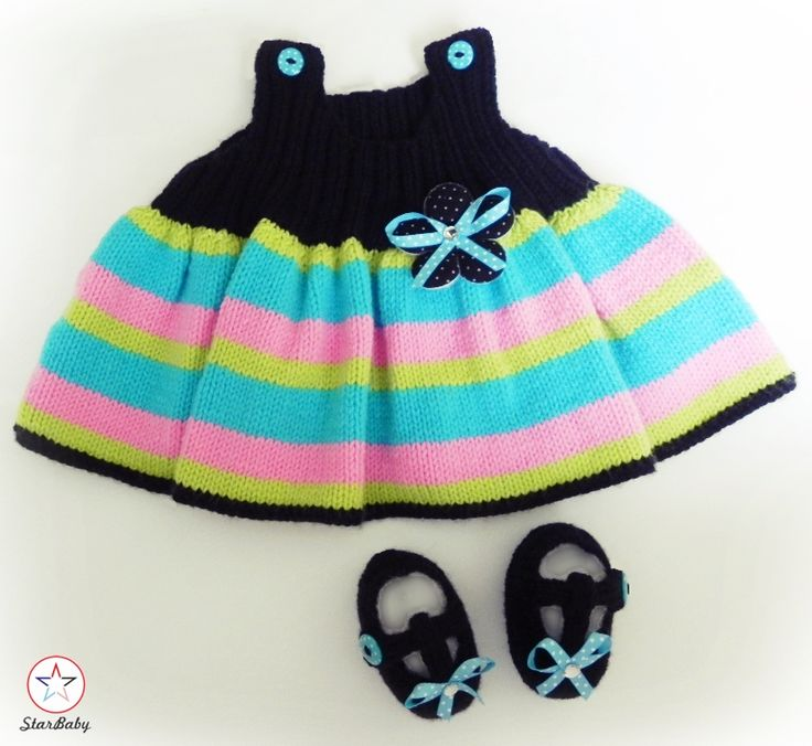 Colourful Pinafore Dress and matching T-bar shoes, handknitted by ©StarBaby Designer Knitwear