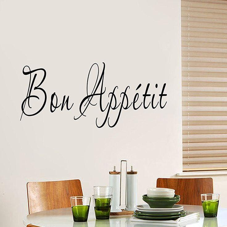 """ufengke® """"Bon Appétit"""" Stickers Muraux de Citations et Proverbes, Salon Salle de Séjour Chambre à Coucher Décalcomanies Murales Autocollants Amovibles: Amazon.fr: Cuisine & Maison"""