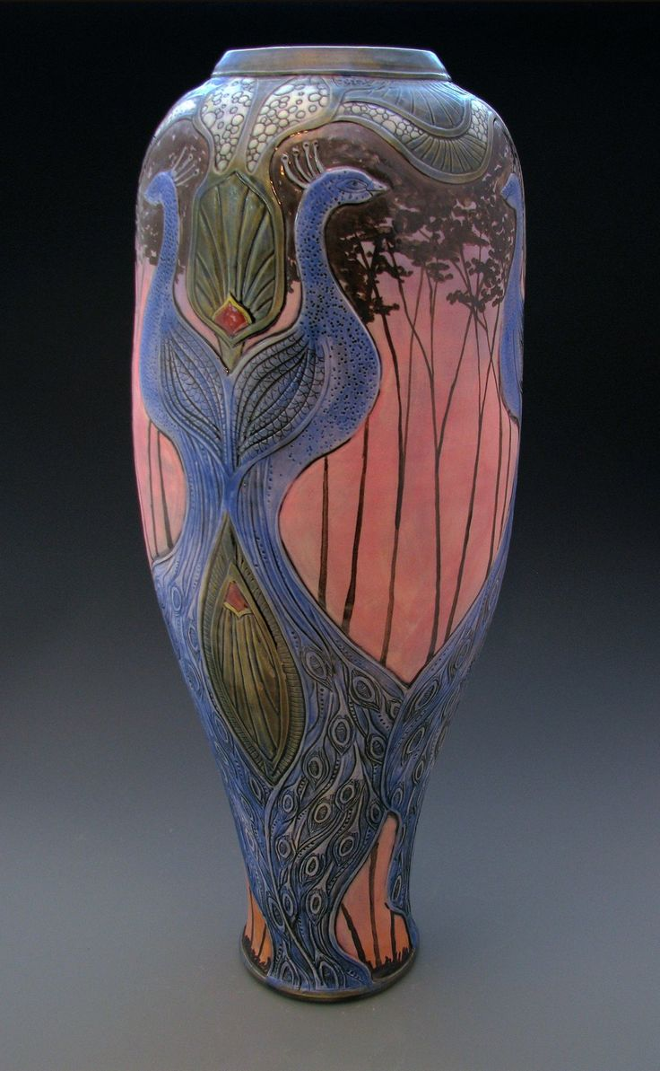 480 best arts crafts pottery vases urns images on pinterest calmwater designs stephanie young peacock vase porcelain pottery art nouveau reviewsmspy