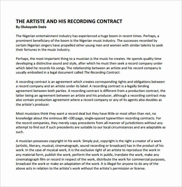 Recording Studio Contract Template New Recording Contract Template 11 Download Documents I In 2020 Contract Template Business Plan Template Free Business Plan Template