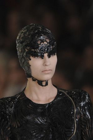 Alexander McQueen Spring 2012 Lace Embroidered Headpiece ...
