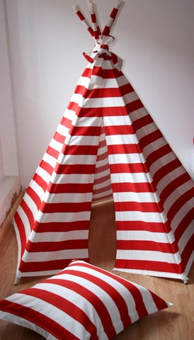 Love this striped teepee!  I actually already pinned it in a black and white stripe.  So disappointed that these are only sold in Australia.