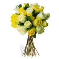 Buchet 19 trandafiri albi si galbeni